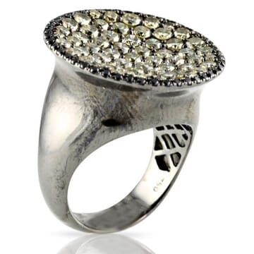CHAMPAGNE DIAMONDS 18K BLACKENED GOLD RING