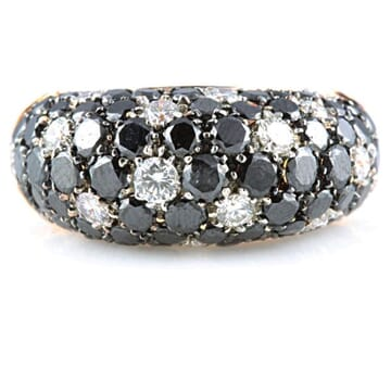 BLACK AND WHITE DIAMOND 18K ROSE GOLD RING