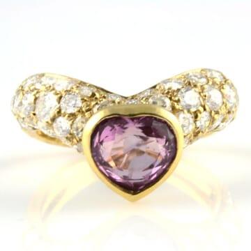 SAPPHIRE AND DIAMOND 18K YELLOW GOLD RING
