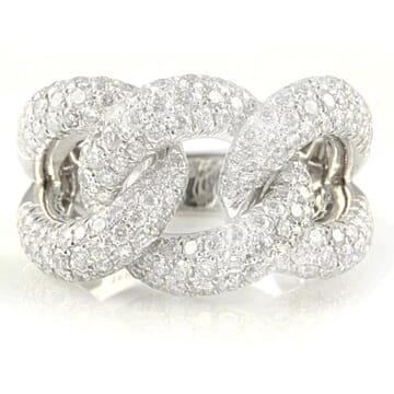 OPEN LINK DIAMOND 18K WHITE GOLD RING