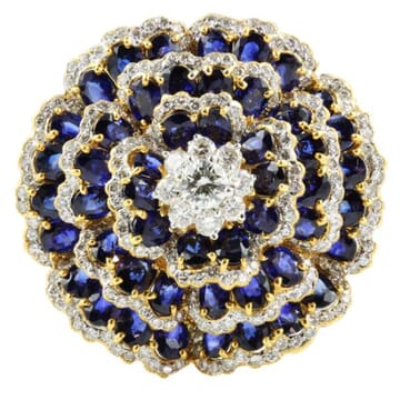 SAPPHIRE AND DIAMOND 18K YELLOW GOLD CLUSTER EARRINGS
