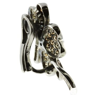 BROWN AND WHITE DIAMOND 18K BLACKENED GOLD FLOWER EARRINGS