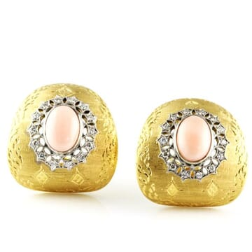 CORAL AND DIAMOND 18K YELLOW GOLD CLUSTER EARRINGS