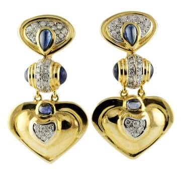 DIAMOND AND SAPPHIRE 18K YELLOW GOLD DANGLE EARRINGS