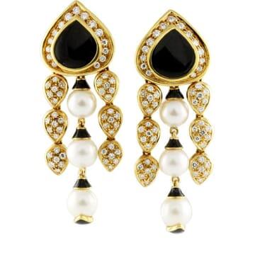 PEARL DIAMOND AND ONYX 18K YELLOW GOLD CHANDELIER EARRINGS