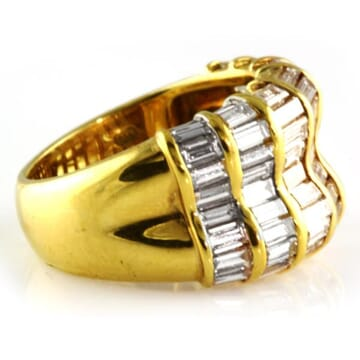 5.00 CT BAGUETTE CUT DIAMOND YELLOW GOLD WEDDING BAND