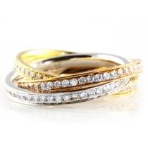 DIAMOND 18K TRI-COLORED INTERLOCKING ETERNITY BAND