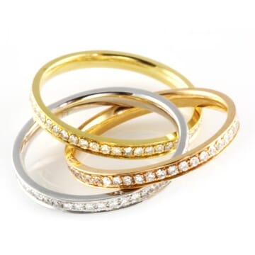 DIAMOND 18K TRI-COLORED INTERLOCKING ETERNITY BAND