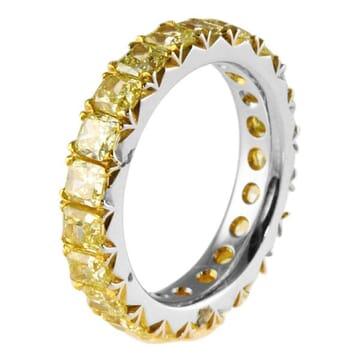 3.00 CT FANCY YELLOW CUSHION DIAMOND  ETERNITY BAND