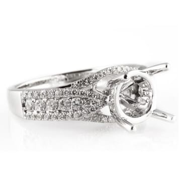 DIAMOND 18K WHITE GOLD DIAMOND ENGAGEMENT RING SETTING