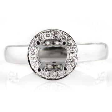 DIAMOND 14K WHITE GOLD ENGAGEMENT RING SETTING