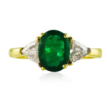 Emerald and Diamond 18K Yellow Gold Engagement Ring