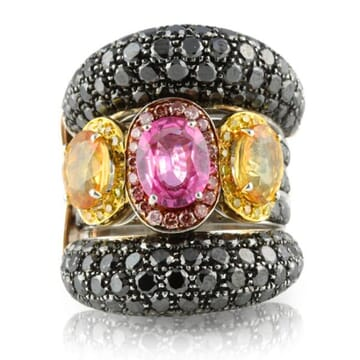 YELLOW PINK BLACK DIAMONDS AND SAPPHIRE 18K WHITE AND ROSE GOLD RING