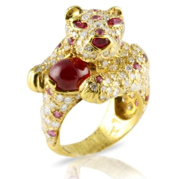 DIAMOND AND RUBY 18K YELLOW GOLD RING