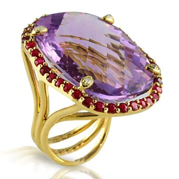AMETHYST DIAMOND AND RUBY 18K YELLOW GOLD RING