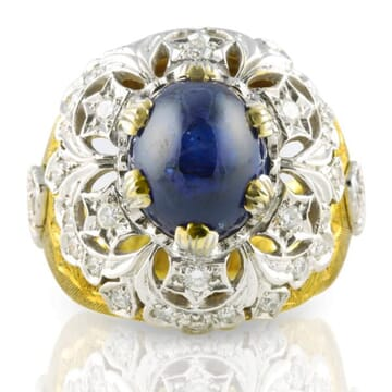 SAPPHIRE AND DIAMOND 18K YELLOW GOLD RING