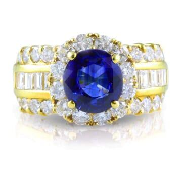 DIAMOND AND SAPPHIRE 18K YELLOW GOLD RING