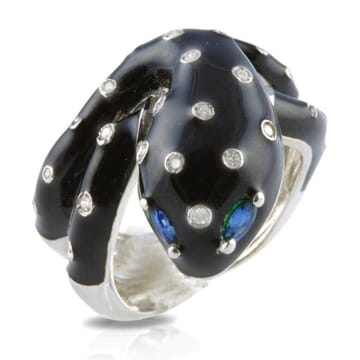 DIAMOND AND SAPPHIRE 18K WHITE GOLD AND ENAMEL RING