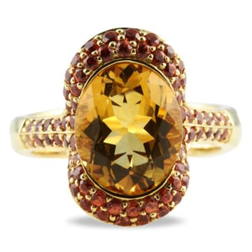 CITRINE AND SAPPHIRE 18K YELLOW GOLD RING