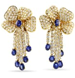 DIAMOND AND SAPPHIRE 18K YELLOW GOLD CHANDELIER EARRINGS