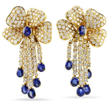 DIAMOND AND SAPPHIRE 18K YELLOW GOLD CHANDELIER EARRINGS