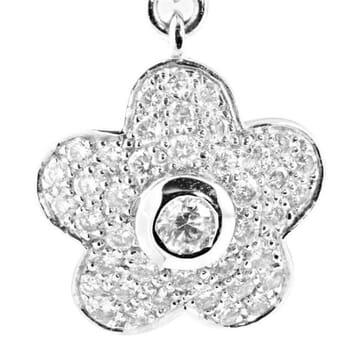 DIAMOND FLEURETTE 18K WHITE GOLD DANGLE EARRING
