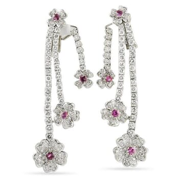 DIAMOND AND SAPPHIRE 18K WHITE GOLD CHANDELIER EARRINGS