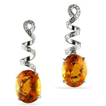 CITRINE AND DIAMOND 18K WHITE GOLD DANGLE EARRINGS