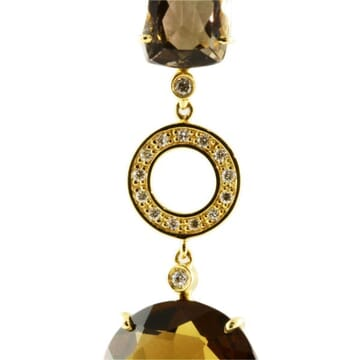 SMOKEY TOPAZ AND DIAMOND 18K YELLOW GOLD DANGLE EARRINGS
