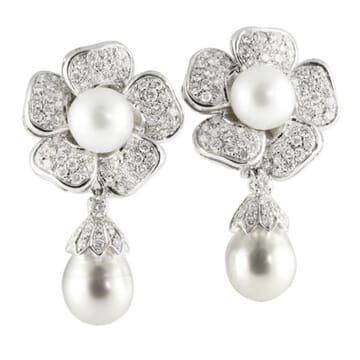 SOUTH SEA AND BAROQUE PEARL AND DIAMOND 18K WHITE GOLD EARRINGS