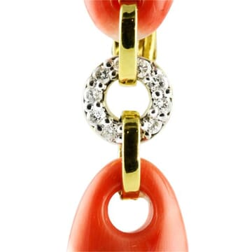 CORAL AND DIAMOND 18K YELLOW GOLD DROP EARRINGS