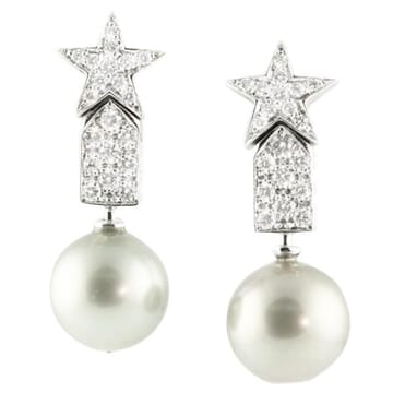 PEARL AND DIAMOND 18K WHITE GOLD DANGLE EARRINGS