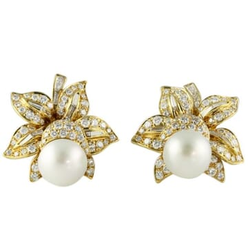 SOUTH SEA PEARL AND DIAMOND 18K YELLOW GOLD CLUSTER EARRINGS