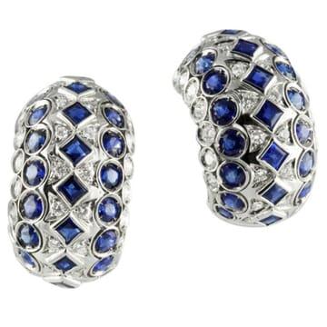 Diamond And Sapphire 18K White Gold Wide Hoop Earrings