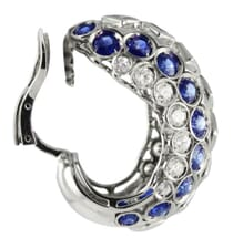 Diamond And Sapphire 18K White Gold Wide Hoop Earrings