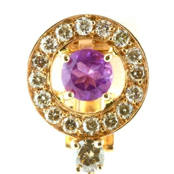 AMETHYST AND CHAMPAGE DIAMOND 18K ROSE GOLD DANGLE EARRINGS