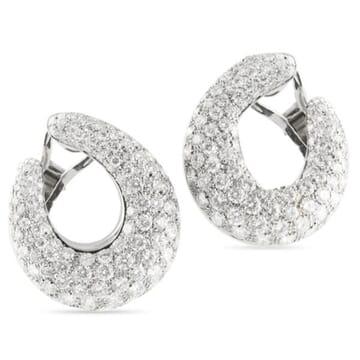 DIAMOND 18K WHITE GOLD HOOP EARRINGS