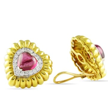 TOURMALINE AND DIAMOND 18K YELLOW GOLD CLUSTER EARRINGS