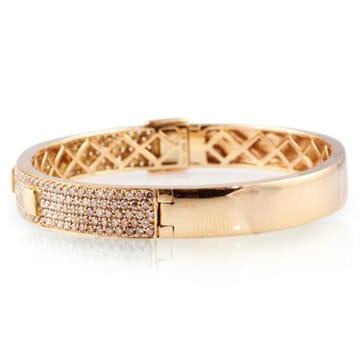 DIAMOND 18K ROSE GOLD BANGLE BRACELET