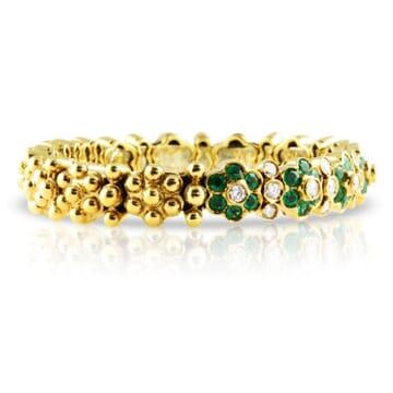 DIAMOND AND EMERALD 18K YELLOW GOLD BANGLE BRACLET