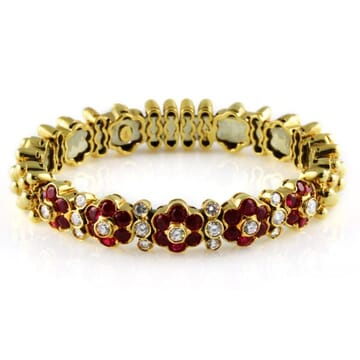 DIAMOND AND RUBY 18K YELLOW GOLD BANGLE BRACELET