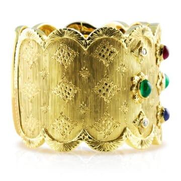 DIAMOND EMERALD RUBY AND SAPPHIRE 18K YELLOW GOLD CUFF BRACELET