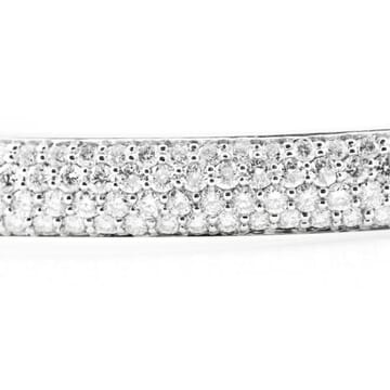 DIAMOND 18K WHITE GOLD WIDE BANGLE BRACELET