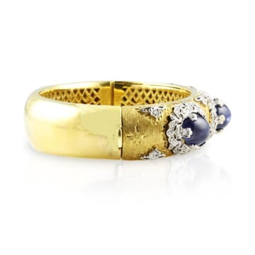DIAMOND AND SAPPHIRE 18K TWO-TONE BRACELET