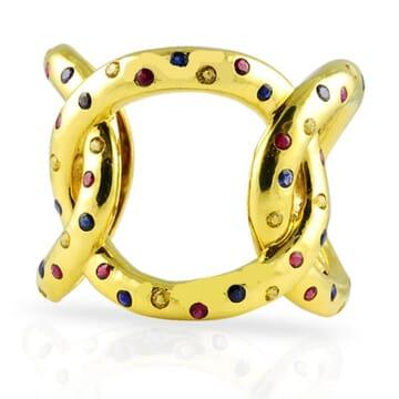 SAPPHIRE 18K YELLOW GOLD CUFF BRACELET