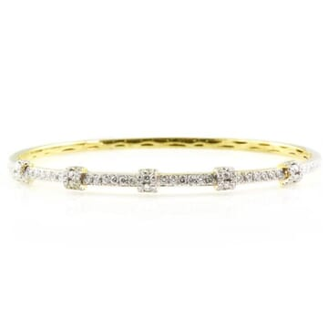 DIAMOND 18K YELLOW GOLD BANGLE BRACELET