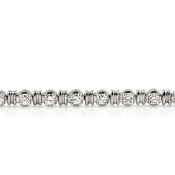 Double Gold Bar Round Diamond 18K White Gold Bracelet
