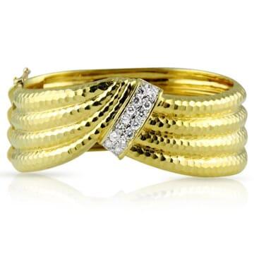 DIAMOND 18K YELLOW GOLD CUFF BRACELET