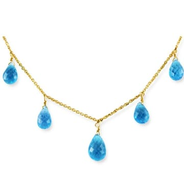 BLUE TOPAZ 18K YELLOW GOLD NECKLACE