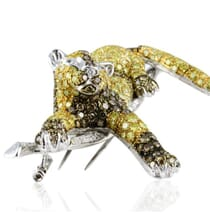White Yellow And Brown Diamond 18K White Gold Large Brooch Pin